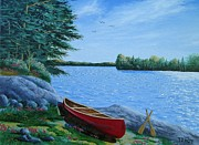 Paddles Paintings - Red Canoe On Lake by Tom Hoy