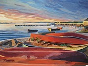 Award Winning Painting Originals - Red Canoe Sunset by Stella Sherman