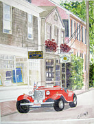 Cape Cod Mass Painting Prints - Red Car Print by Carol Flagg