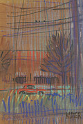 Transportation Pastels Originals - Red Car by Donald Maier