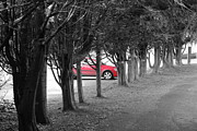 England Framed Prints - Red Car Framed Print by Ian Broadmore