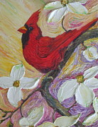 Impasto Oil Paintings - Red Cardinal and Dogwood Flowers by Paris Wyatt Llanso