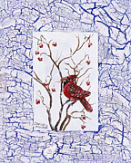 Christmas Greeting Painting Posters - Red Cardinal Poster by Darice Machel McGuire