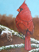 Cardinal Drawings Prints - Red Cardinal Print by Kevin Breyfogle
