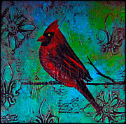 Lovers Art On Print Posters - Red Cardinal Painting Poster by Laura  Carter