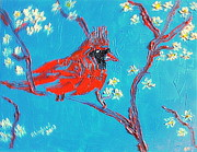 Canons Painting Prints - Red Cardinal Utah Spring Print by Richard W Linford
