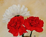 Marsha Heiken - Red Carnations with...