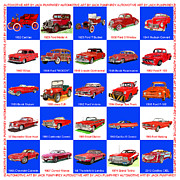 Red White And Blue Mixed Media Posters - RED CARS of AMERICA Poster by Jack Pumphrey