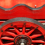 Wooden Wagons Photo Framed Prints - Red Cart Framed Print by Art Block Collections