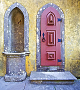 Hinges Framed Prints - Red Carved Wood Door and a Water Fountain of the Fairytale Castle of Sintra Framed Print by David Letts