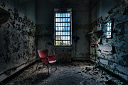 Peeling Paint Walls Posters - Red Chair - Art Deco Decay - Gary Heller Poster by Gary Heller