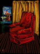Fabric Mixed Media - Red Chair at Night by Russell Pierce