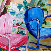Suzanne Willis Metal Prints - Red Chair Blue Chair Metal Print by Suzanne Willis