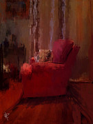 Cushion Mixed Media Metal Prints - Red Chair in Profile Metal Print by Russell Pierce