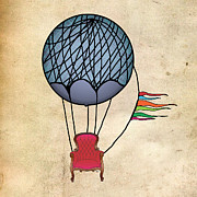 Balloons Prints - Red Chair Print by JRyan Artist