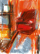 Chair Mixed Media Framed Prints - Red Chair Number 15 Framed Print by Russell Pierce