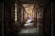 Derelict Prints - Red Chairs Purple Doors Print by Jason Green