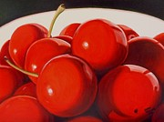 Folk Print Digital Art Posters - Red Cherries Poster by Sharon Challand