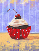 Country Cottage Drawings Prints - Red Cherry Cupcake Print by Marco Sivieri