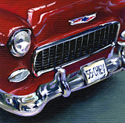 Classic Car Paintings - Red Chevy by Natasha Denger