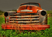 Old Chevrolet Truck Framed Prints - Red Chevy Framed Print by Thomas Young