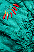 Chillies Prints - Red Chillies Blue Silk Print by Rick Piper Photography