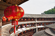 Municipality Prints - Red Chinese lantern in a Hakka Tulou  Print by Fototrav Print