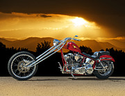 Forks Posters - Red Chopper F Poster by Dave Koontz