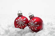Christmas Holiday Scenery Art - Red Christmas balls in snow by Michal Bednarek