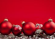 Greeting Photos - Red Christmas baubles and decorations by Elena Elisseeva