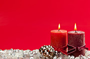 Pine Cone Photos - Red Christmas candles by Elena Elisseeva