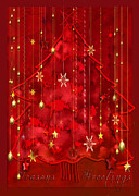 Christmas Trees Digital Art - Red Christmas Tree by Arline Wagner