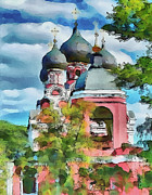 Siberia Digital Art - Red Church by Yury Malkov