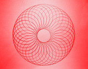 Drafting Posters - Red Circle Abstract Poster by Tom Druin