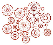 Wheels Drawings Posters - Red Circles Poster by Frank Tschakert