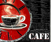 Red And Tea Prints - Red Clock Coffee Shop Cafe Print by ArtyZen Studios