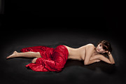 Nude Posters - Red Cloth Nude 3 Poster by Kendree Miller
