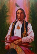 Medallion Paintings - Red Cloud Oglala Lakota Chief by J W Kelly