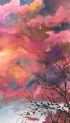 Anne Gifford - Red Clouds with Twig Tree