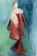 Watercolor Posters - Red Coat and Long Dress - Watercolor Fashion Illustration Poster by Beverly Brown Prints