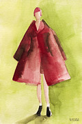 Fashion Art Prints Paintings - Red Coat - Watercolor Fashion Illustration by Beverly Brown Prints