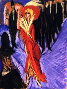 Red Woman Prints - Red  Cocotte Print by Ernst Ludwig Kirchner