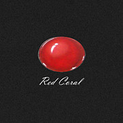 Gouache Jewelry - Red Coral Cabochon black by Marie Esther NC
