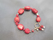 Featured Jewelry - Red coral white pearl bracelet by Jan Durand