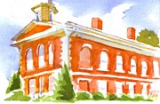 Blue And Green Paintings - Red Courthouse with Evergreen by Kip DeVore