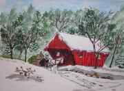 Red Covered Bridge Christmas Print by Kathy Marrs Chandler