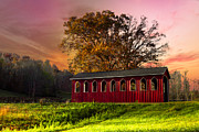 Barns Posters - Red Covered Bridge Poster by Debra and Dave Vanderlaan