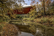 Jeff Burton Metal Prints - Red Covered Bridge Metal Print by Jeff Burton