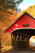 Trussed Prints - Red Covered Bridge  Print by Roupen  Baker