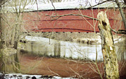 Snow . Bridge Posters - Red Covered Bridge Poster by Trish Tritz